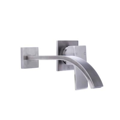 Single-Handle Wall Mount Bathroom Faucet with Modern Ribbon Spout in Brushed Nickel