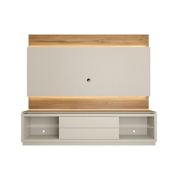 Lincoln 85'' Off White and Cinnamon TV Stand and Panel
