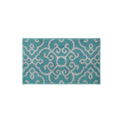 Nevio Blue Lagoon/Grey 2 ft. x 3 ft. Loop Area Rug