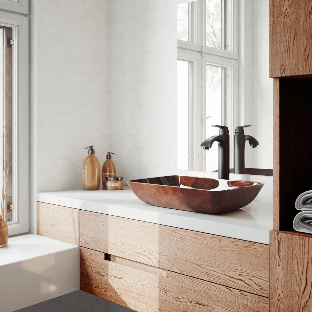 18 Rectangular Russet Glass Vessel Bathroom Sink Set With Linus Vessel Faucet In Antique Rubbed Bronze