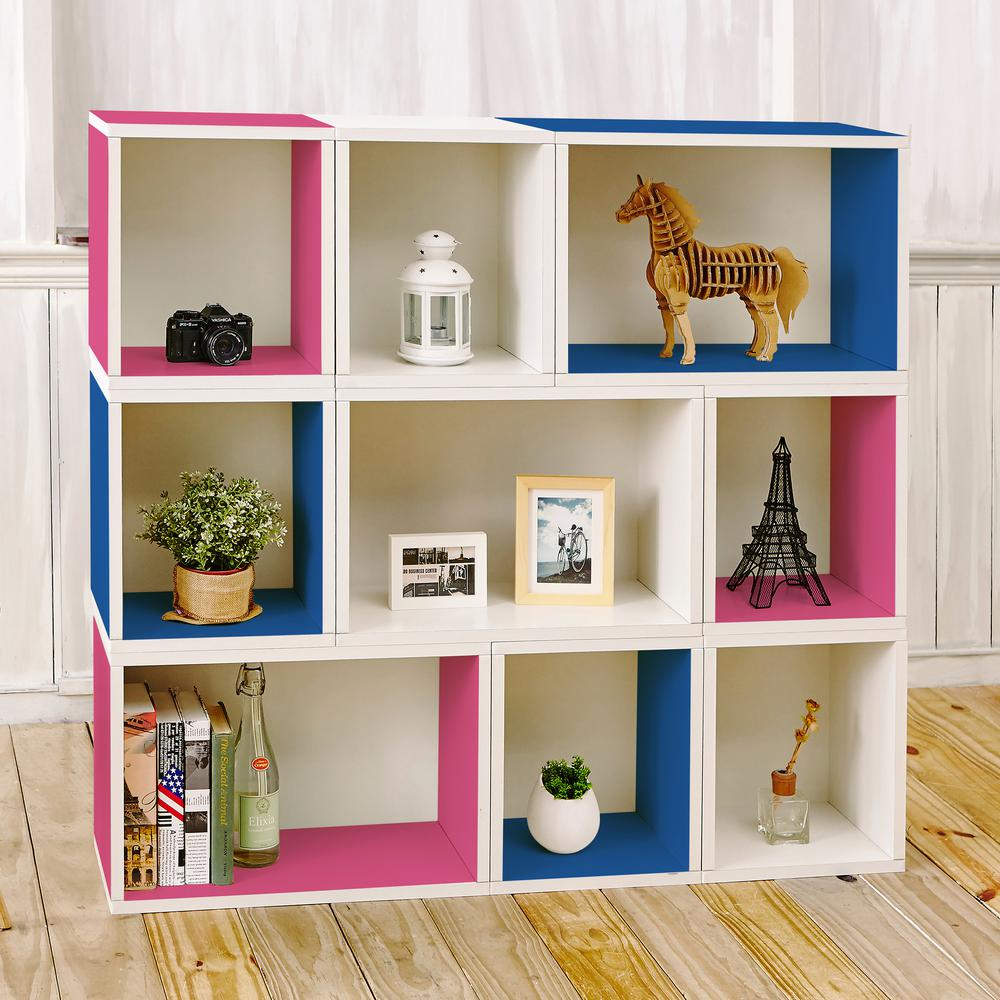 Way Basics Oxford Eco zBoard Tool Free Assembly White & Blue & Pink Stackable Modular Open Bookcase