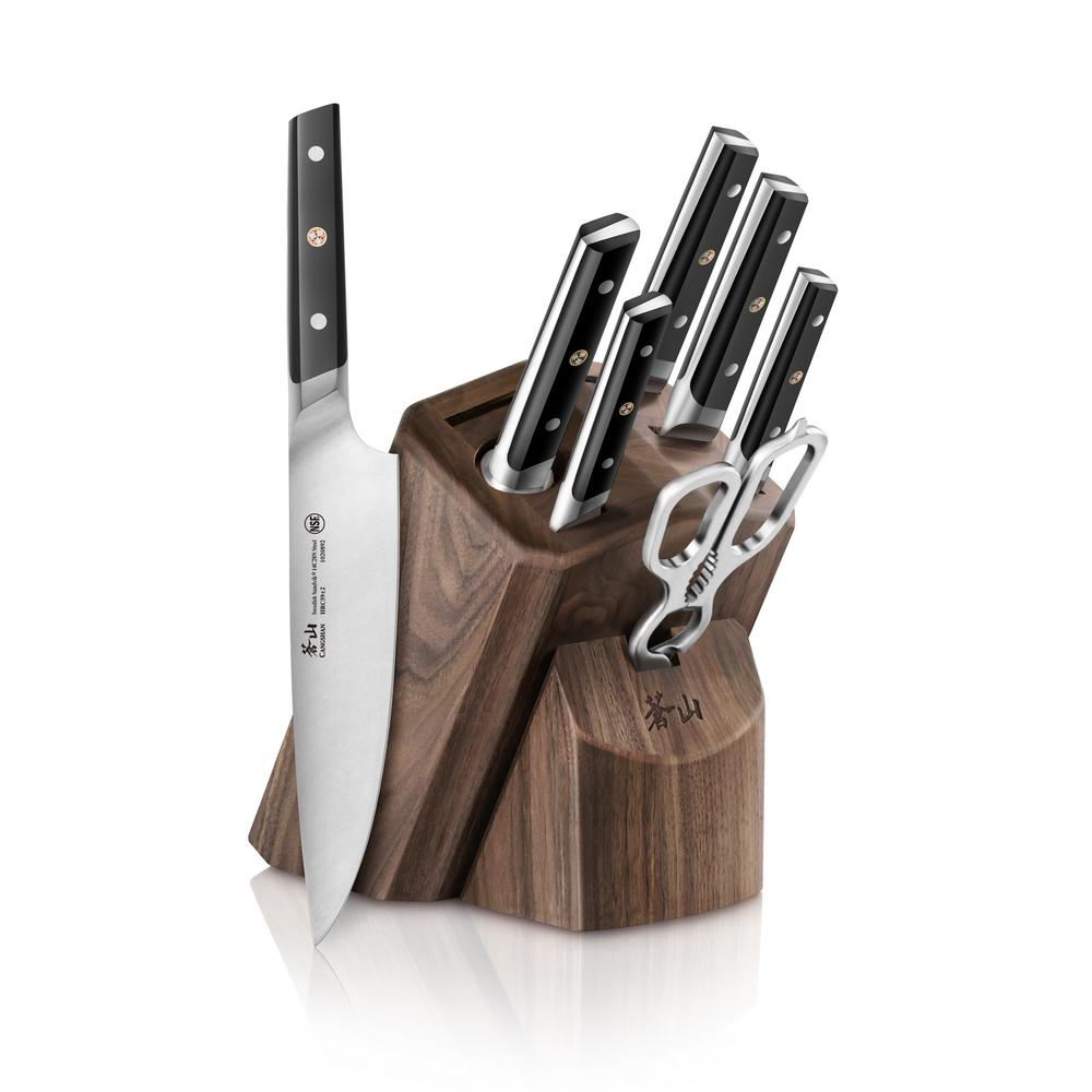 TC Series Swedish Sandvik 14C28N Steel Forged 8-Piece Knife Block Set,