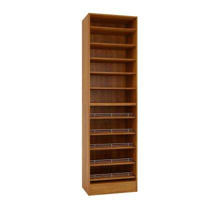 15 in. D x 24 in. W x 84 in. H Cognac Melamine with 11-Shelves and Slide Outs Closet System Kit