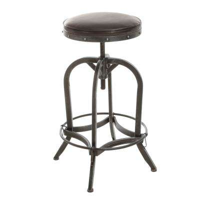 Gunner 27 in. Brown Swivel Cushioned Bar Stool (Set of 1)