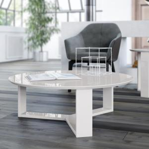 +2. Manhattan Comfort Madison 1.0  35.78 In. Off White Round Accent Coffee  Table