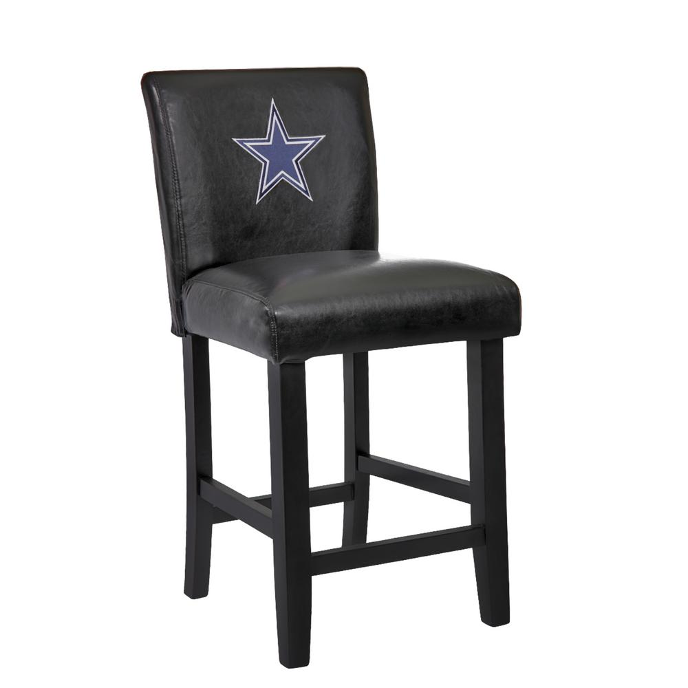 Dallas Cowboys 24 in. Black Bar Stool with Faux Leather Cover