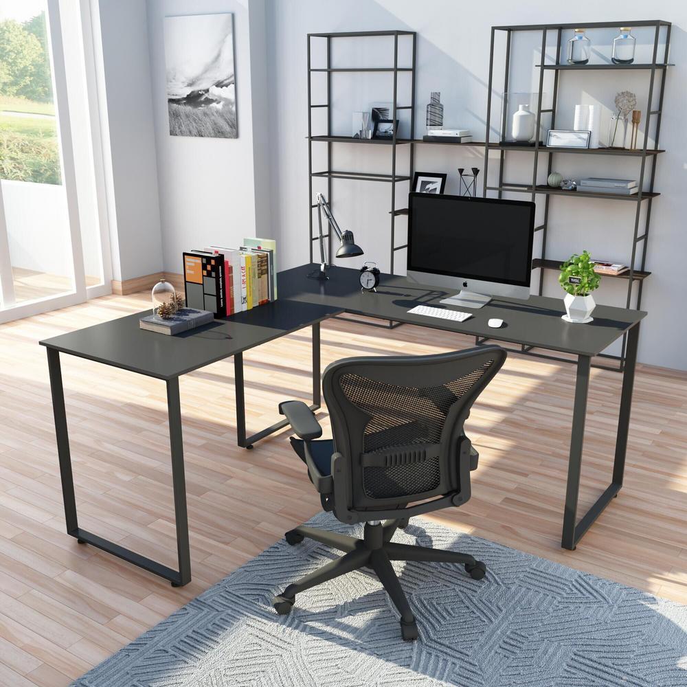 Black L-Shaped Workstation Laptop Table Corner Desk