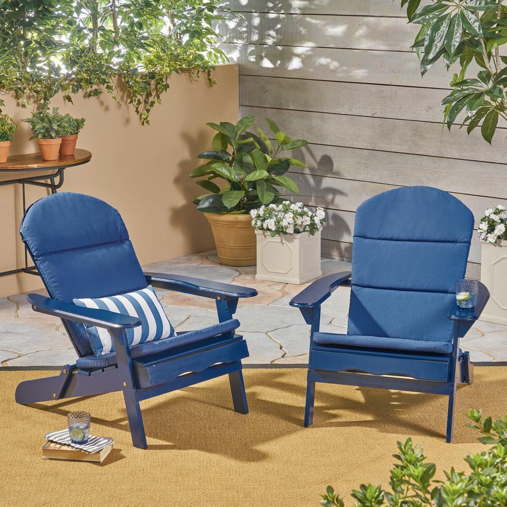 Malibu Navy Blue Folding Wood Adirondack Chairs with Navy Blue Cushions (2-Pack)
