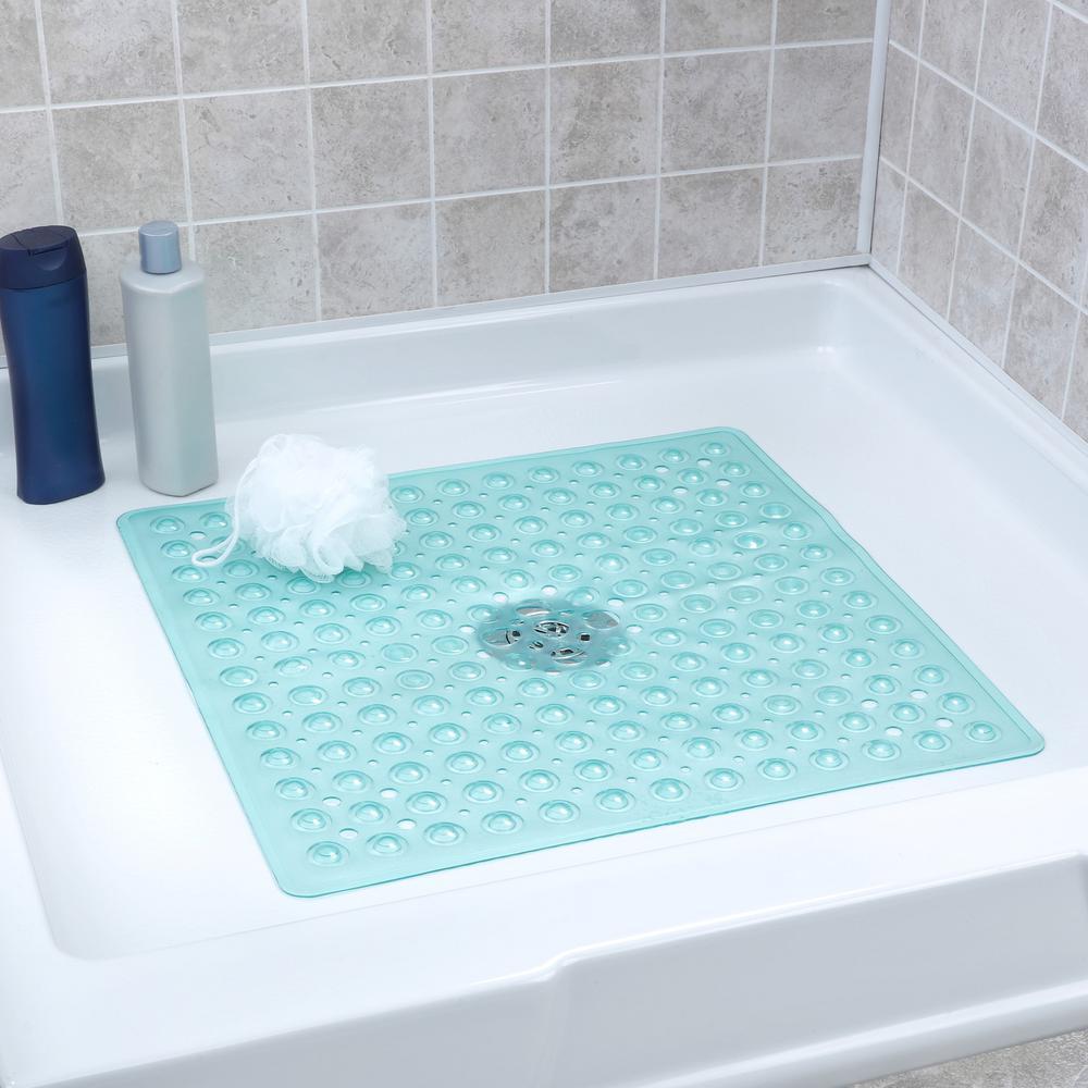 21 in. x 21 in. Square Shower Mat in Aqua