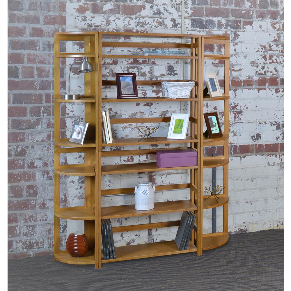 Regency Flip Flop 67-inch High Corner Folding Bookcase- Medium Oak