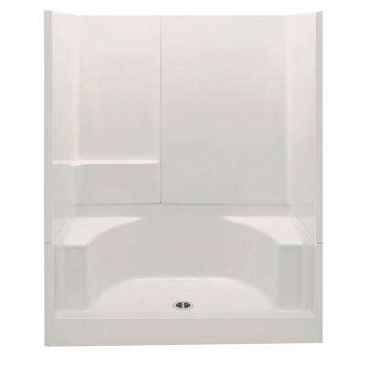 Remodeline 60 in. x 34 in. x 72 in. 3-Piece Shower Stall with 2 Seats and Center Drain in Biscuit