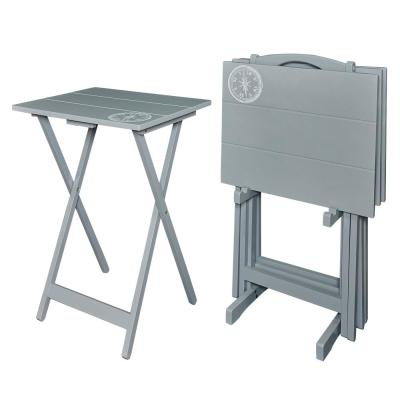 Gray Compass Tray Table Set