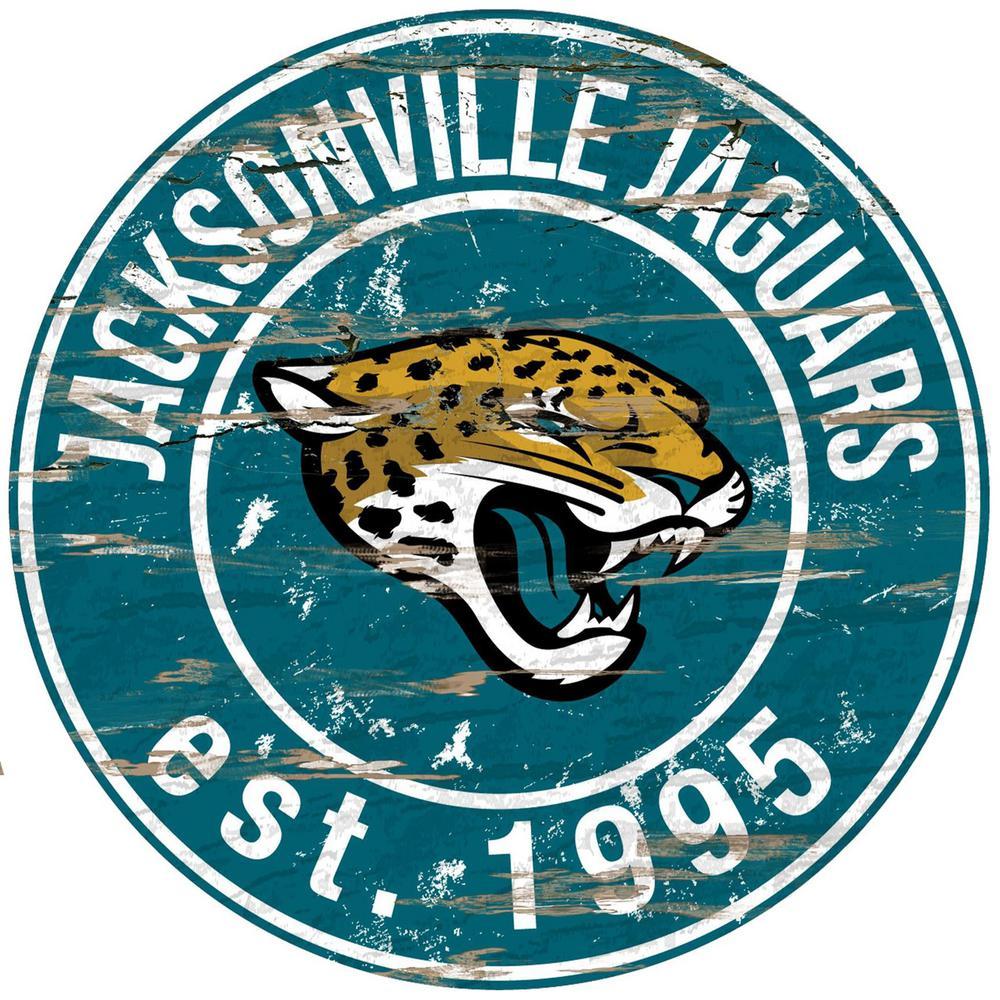 24 nfl jacksonville jaguars round distressed sign n0659 jac the