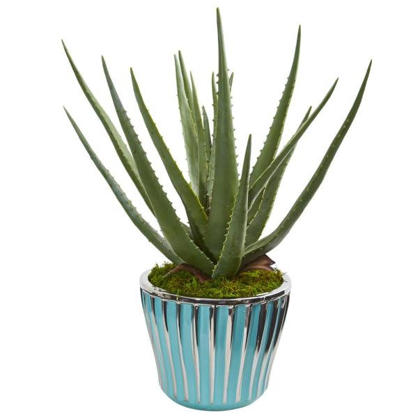 18 in. Aloe Artificial Plant in a Turquoise Planter