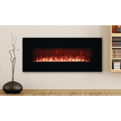 50 in. LED Wall-Mounted Electric Fireplace with Crystal Flame Effect in Black