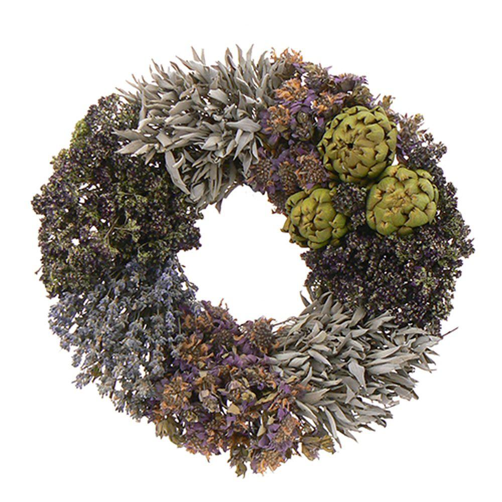 The Christmas Tree Company Purple and Artichoke 12 in. Dried Floral Wreath-DISCONTINUED