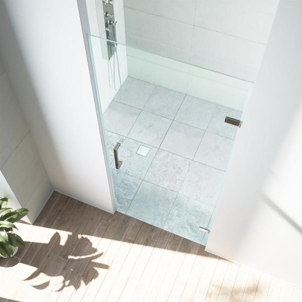 Vigo Soho 28 To 28 1 2 In X 70 625 In Frameless Hinged Shower Door In Chrome With Clear Glass And Handle Vg6072chcl28 The Home Depot