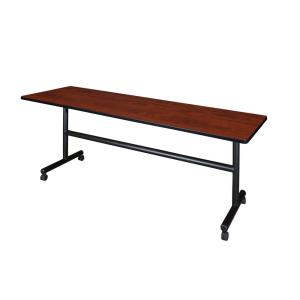 Kobe Cherry 84 in. W x 24 in. D Flip Top Mobile Training Table