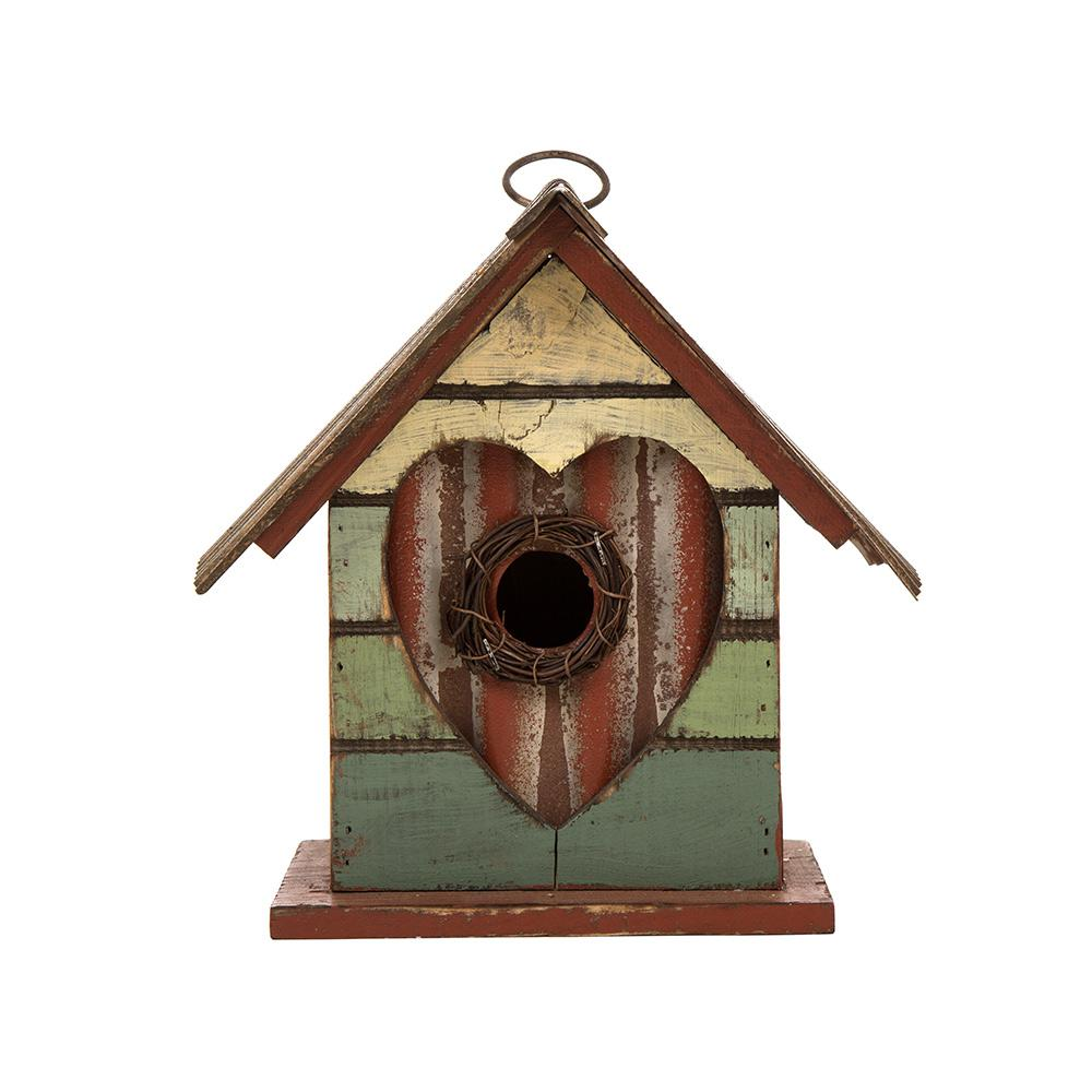 8.66 in. H Distressed Solid Wood Birdhouse with Heart