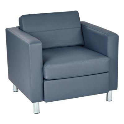 Pacific Dillon Blue Vinyl Fabric Arm Chair
