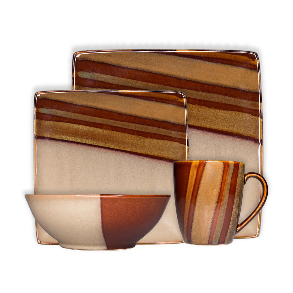 Avanti Brown 16-Piece Dinnerware Set