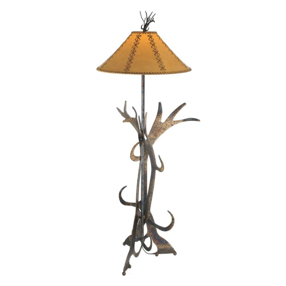 Illumine 1 Light Faux Leather Floor Lamp Antique Copper Heavy Burnish Finish Glass