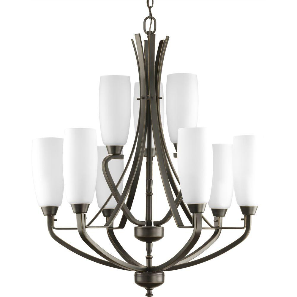 Progress Lighting Wisten Collection 9-Light Antique Bronze Chandelier with Etched Glass