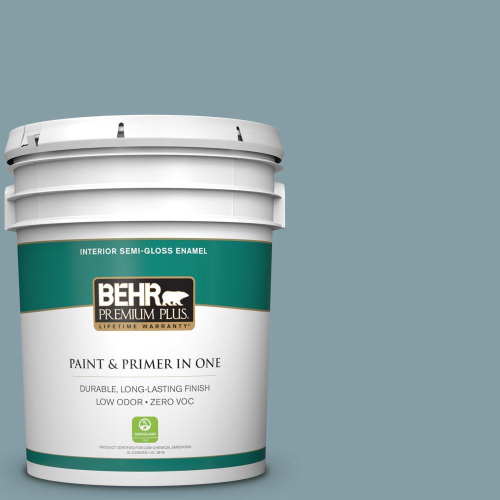 5-gal. #BNC-18 Aqua Gray Semi-Gloss Enamel Interior Paint