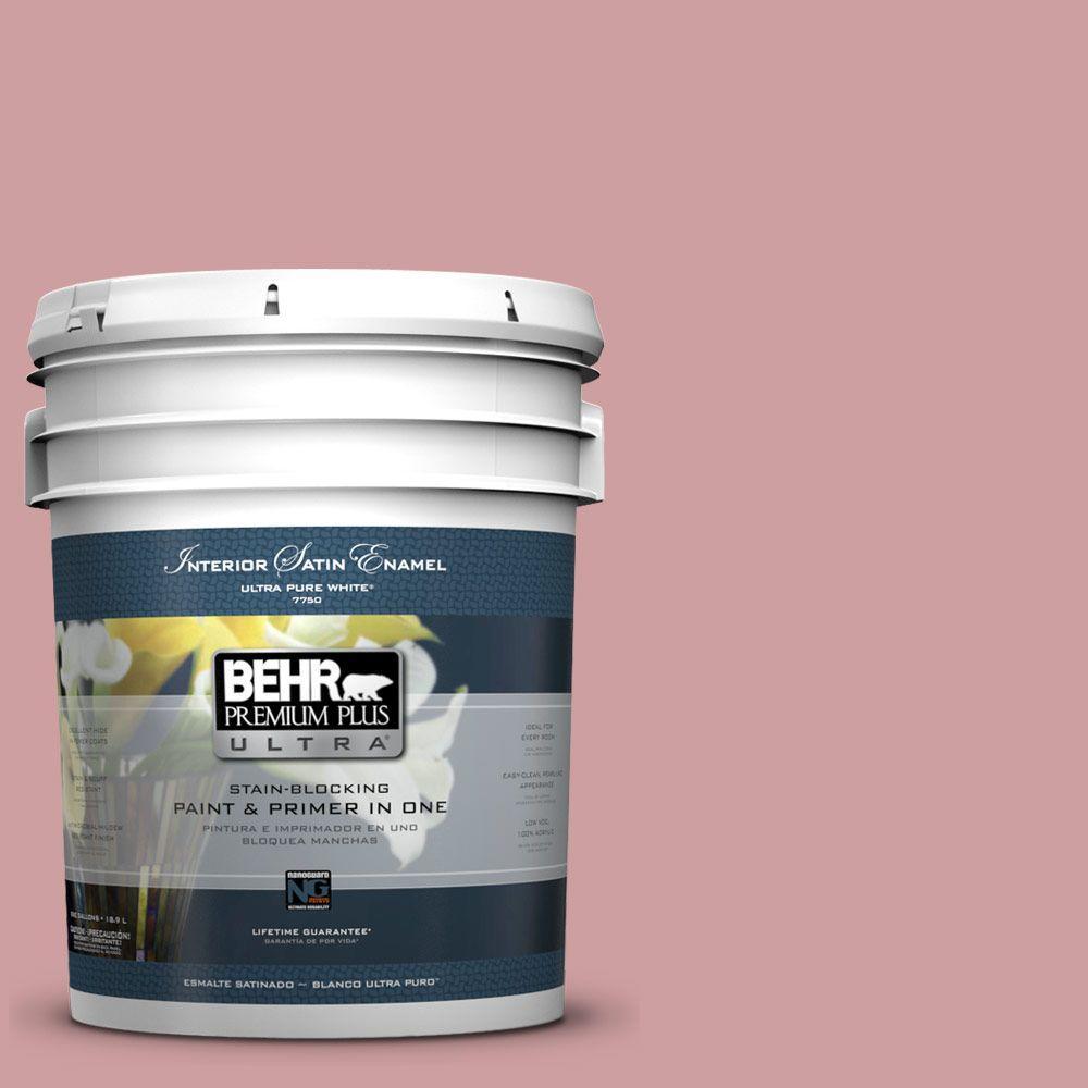 BEHR Premium Plus Ultra 5-gal. #150E-3 Calico Rose Satin Enamel Interior Paint