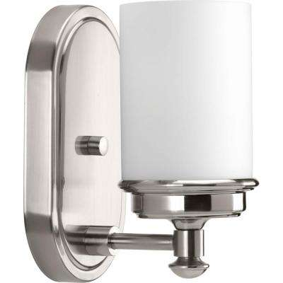Glide Collection 1-Light Brushed Nickel Bath Sconce with Opal Glass Shade