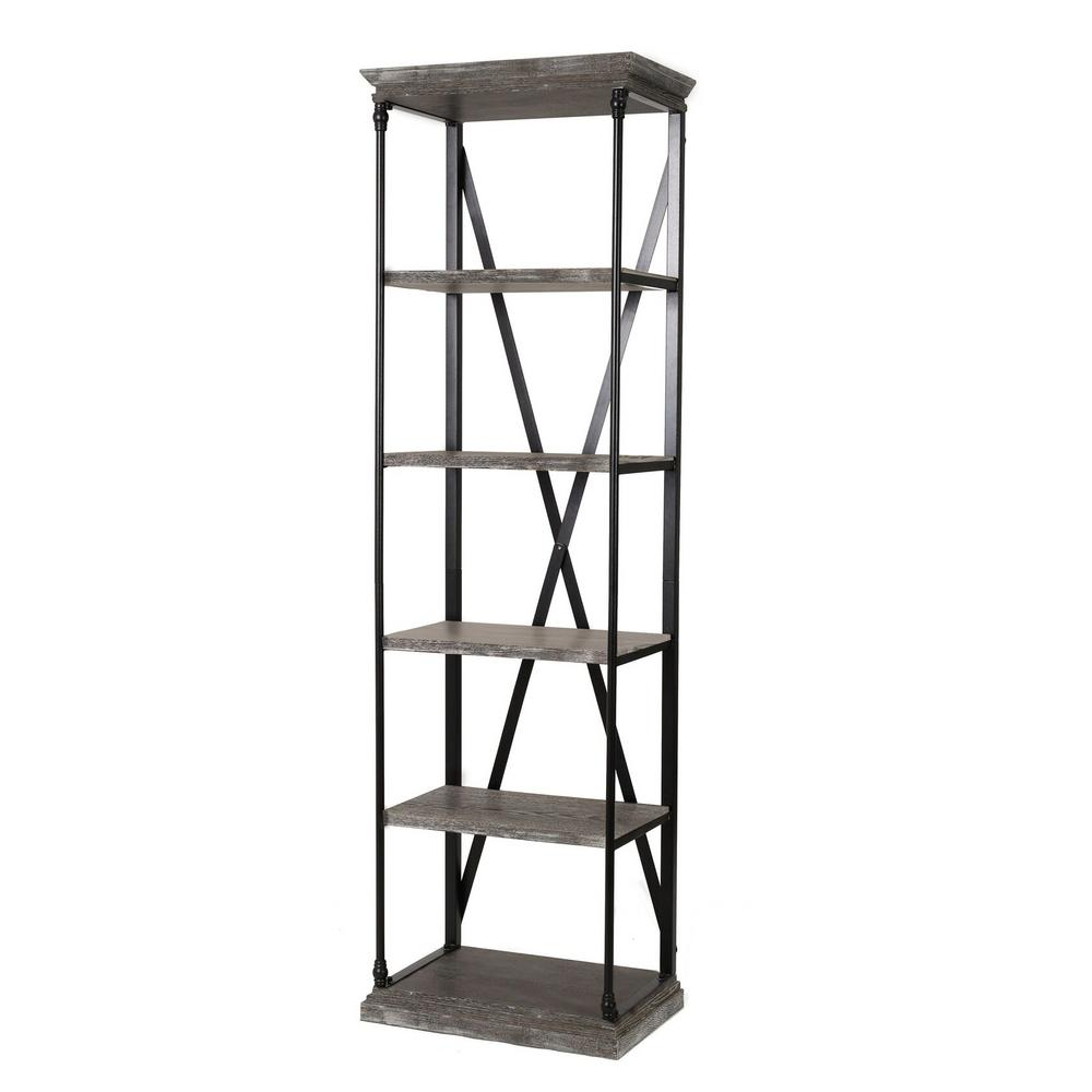 Noble House Oak Gray 5 Tier Etagere Bookcase