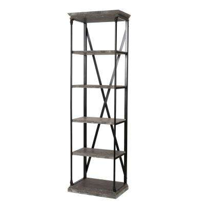 Oak Gray 5-Tier Etagere Bookcase