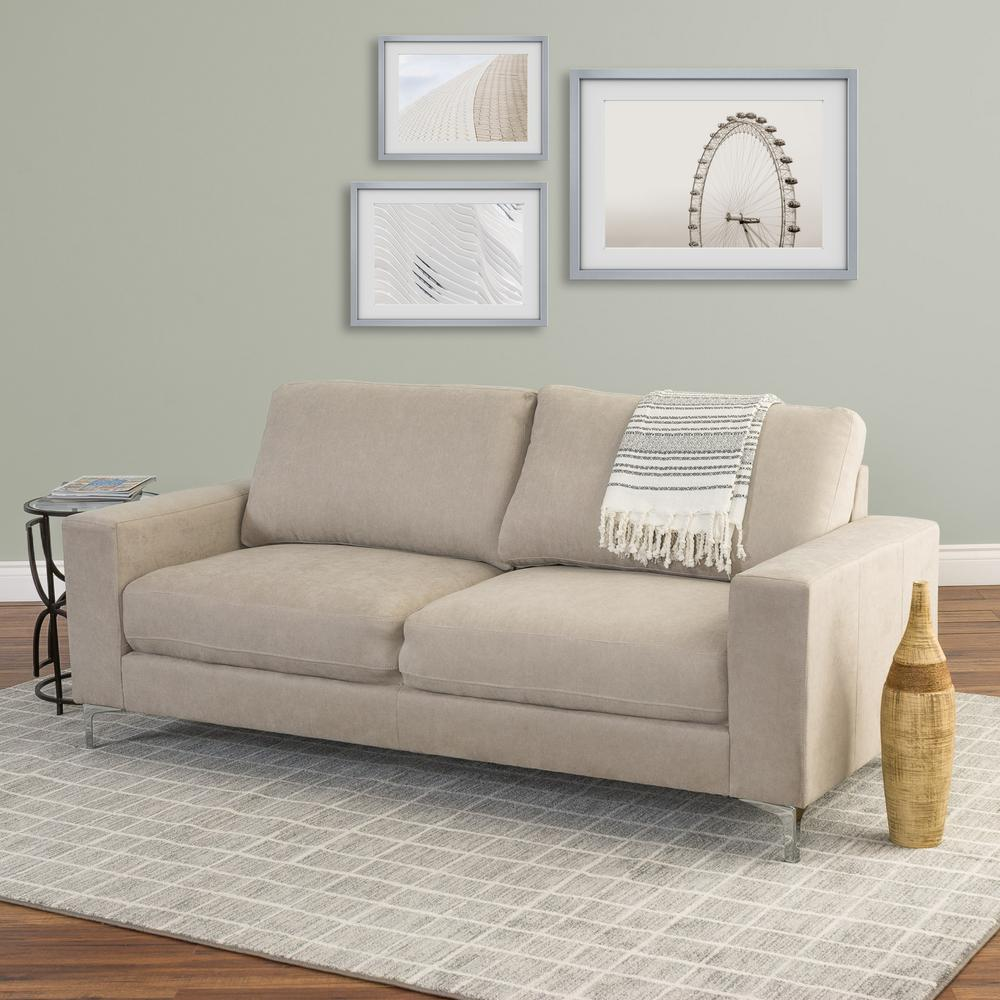 Superb CorLiving Cory Beige Chenille Fabric Sofa
