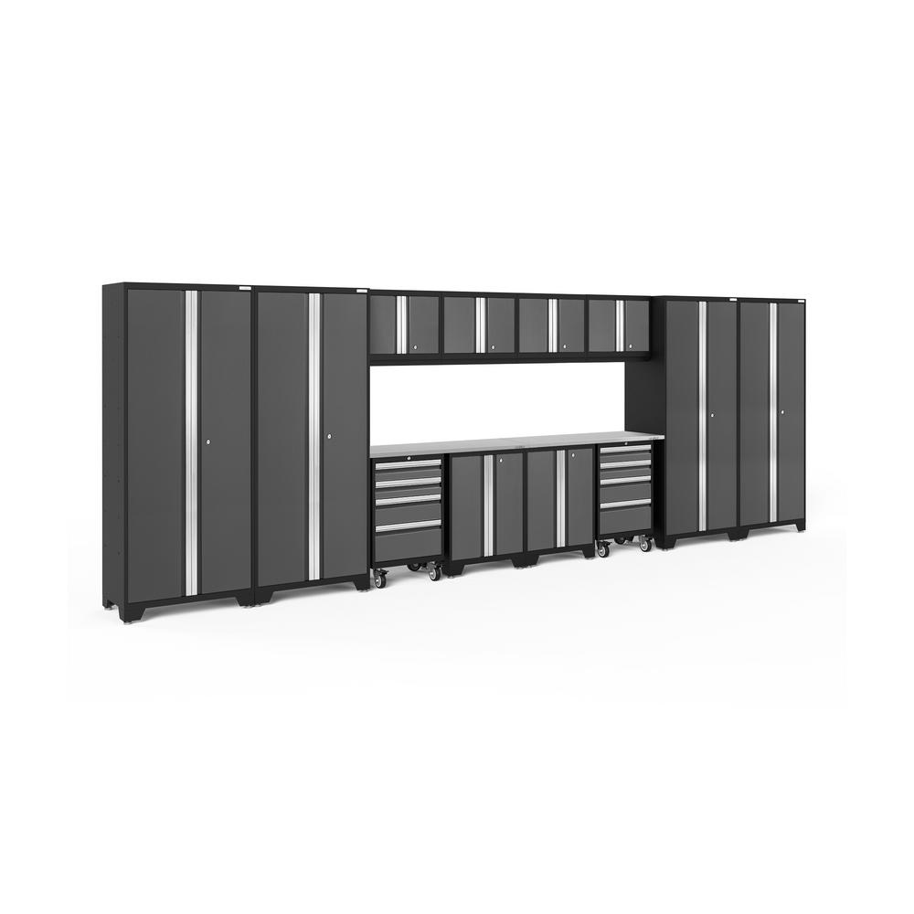 NewAge Products Bold Series 216 in. W x 77.25 in. H x 18 in. D 24-Gauge Steel Garage Cabinet Set in Gray (14-Piece)