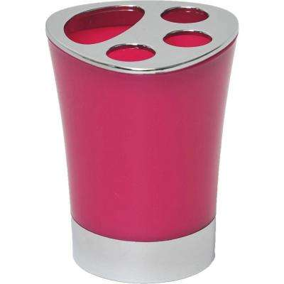 Bath Toothbrush and Toothpaste Holder Chrome Parts Pink
