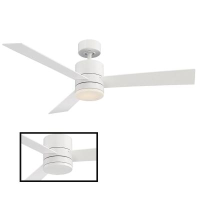 Axis 52 in. LED Indoor/Outdoor Matte White 3-Blade Smart Ceiling Fan with 3000K Light Kit and Wall Control