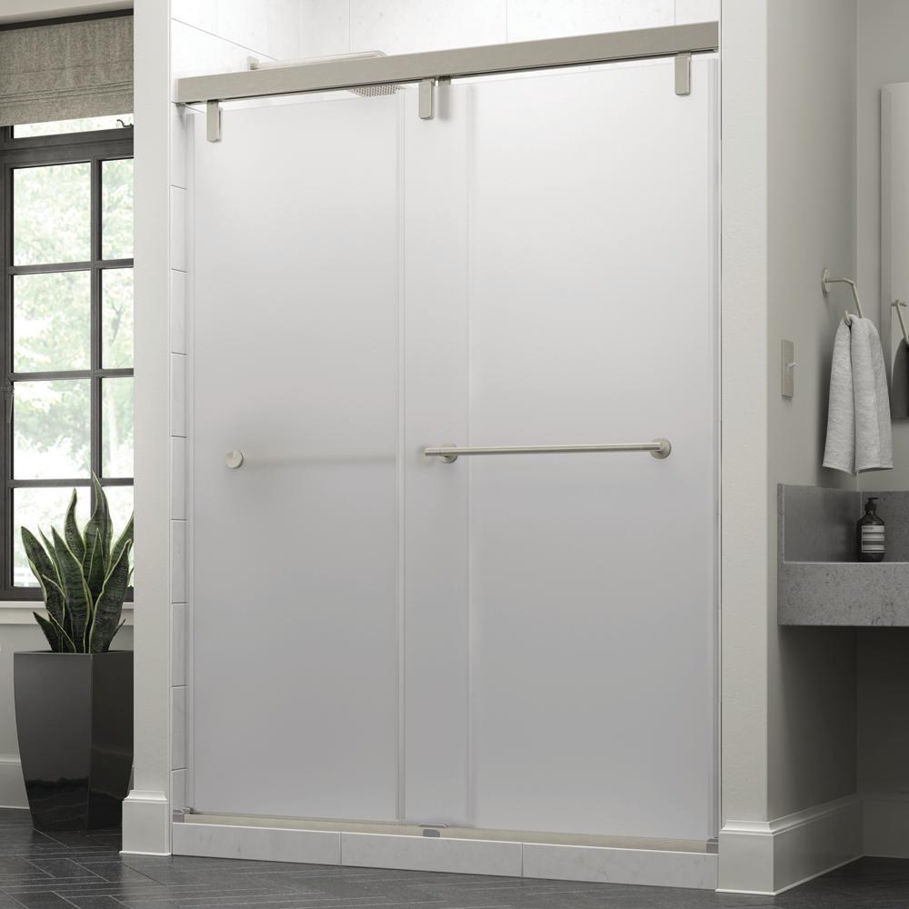 Crestfield 60 in. x 71-1/2 in. Mod Semi-Frameless Sliding Shower Door in Nickel and 3/8 in. (10mm) Niebla Glass