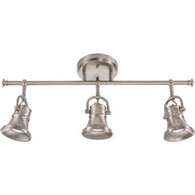 Flared Skirt 3-Light Brushed Nickel Track Lighting Fixture with LED Bulbs