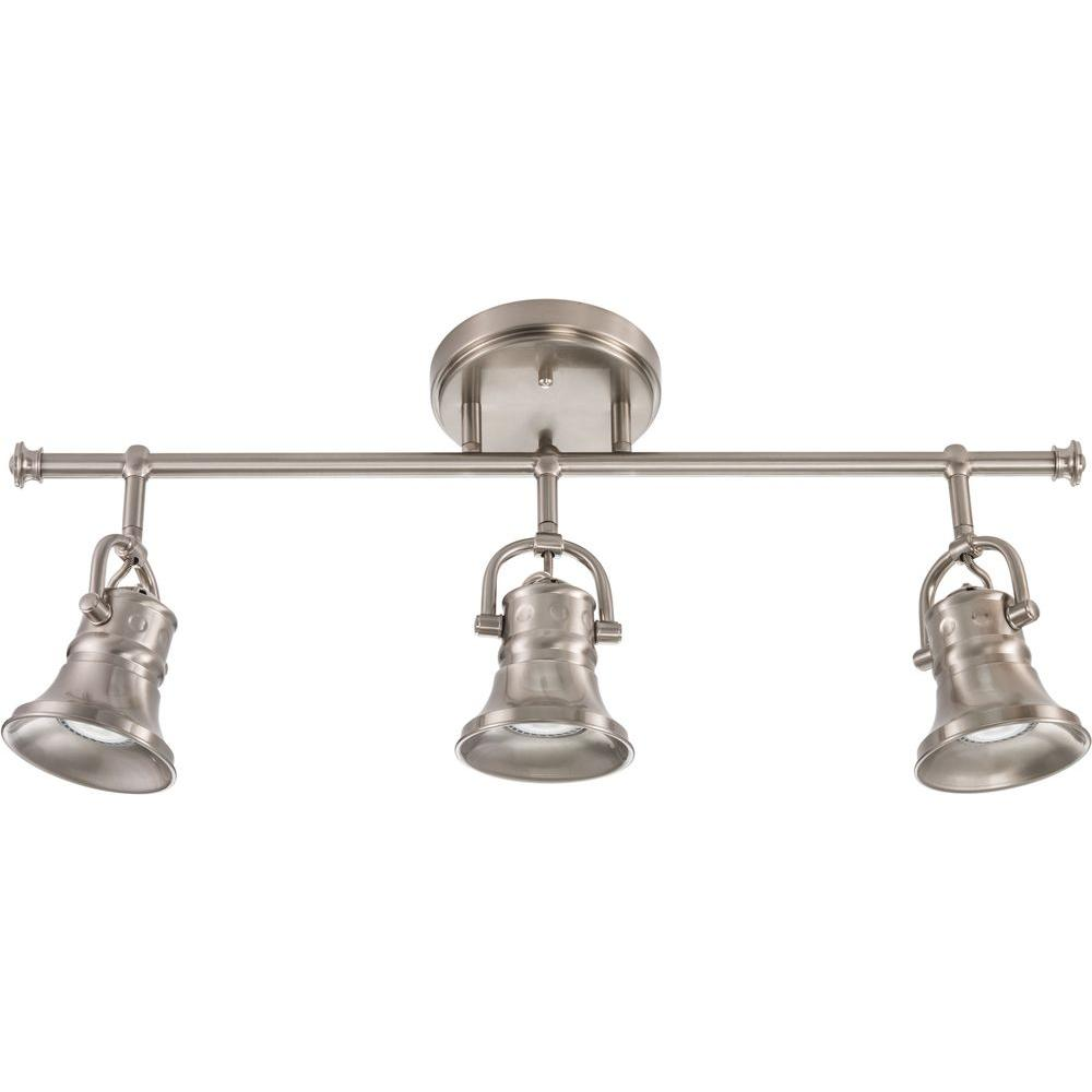 track lighting styles transitional. Flared Skirt 3-Light Brushed Nickel Track Lighting Fixture With LED Bulbs Styles Transitional O