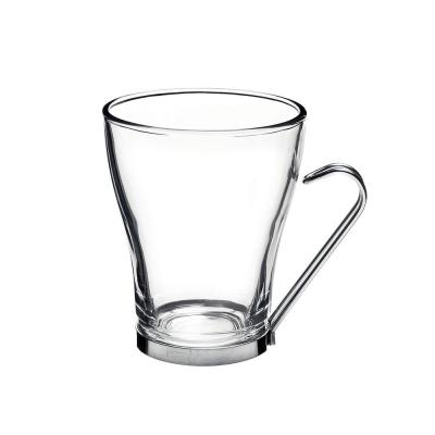 7.5 oz. Oslo Cappuccino Glass Mug Clear with Stainless Steel Handle (Set of 4)