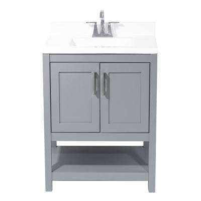 Tufino 25 in. Bath Vanity in Grey with Cultured Marble Vanity Top with Backsplash in White with White Basin