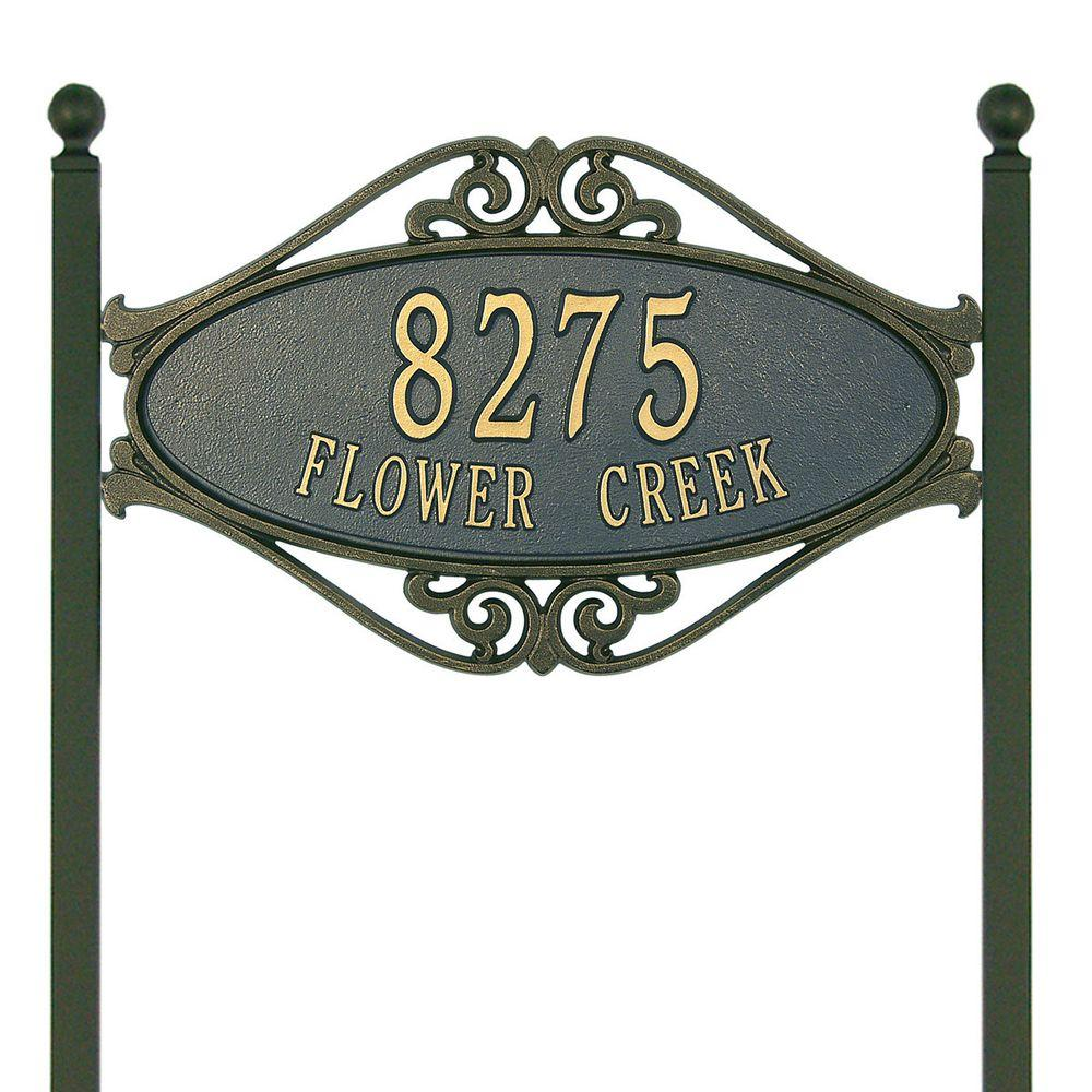 Hackley Fretwork Oval Bronze/Gold Standard Lawn Two Line Address Plaque