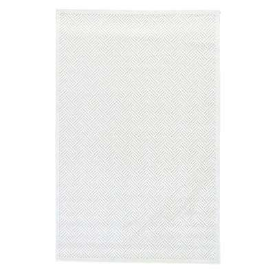 Machine Made Bright White 5 ft. x 8 ft. Tribal Area Rug