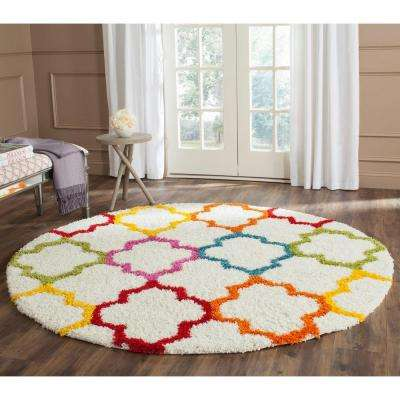 Kids Shag Ivory/Multi 7 Ft. X 7 Ft. Round Area Rug