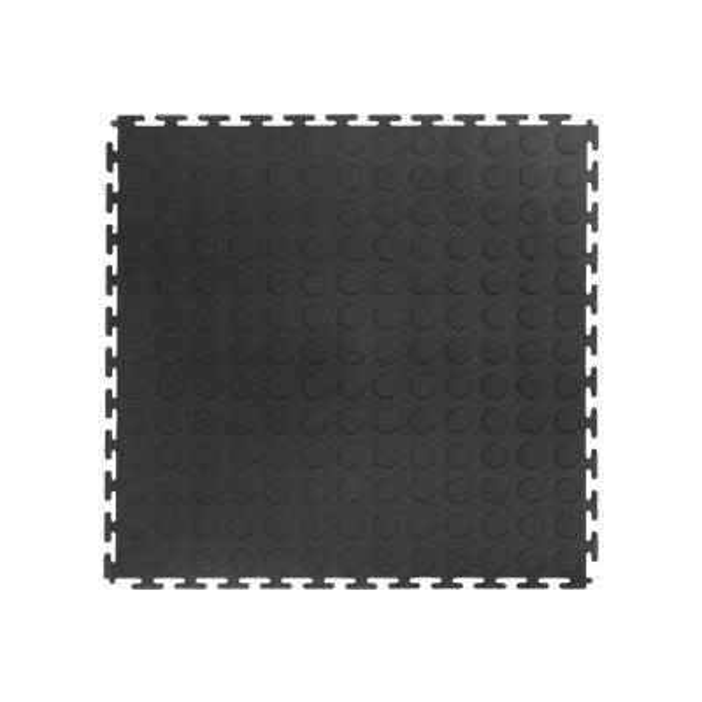 Black Raised Coin 18 in. x 18 in. x 3.1 mm Rubber Interlocking Modular Flooring Tiles, 6-Pack (13.5 sq. ft.)