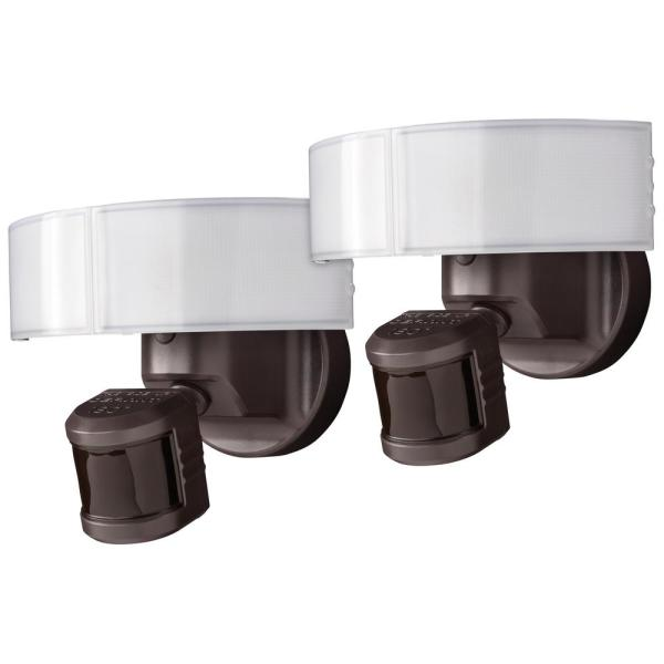 180-Degree Bronze LED Motion Sensing Outdoor Security Flood Light (2-Pack)