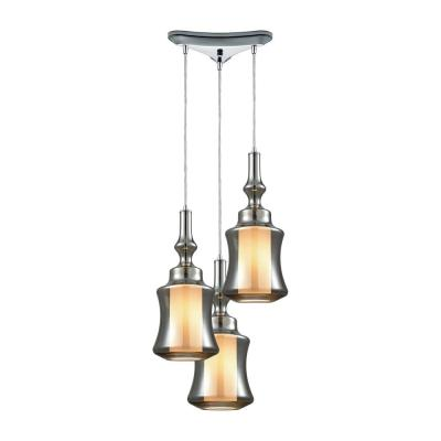 Alora 3-Light Triangle Pan in Polished Chrome with Opal White Glass Inside Smoke Plated Glass Pendant