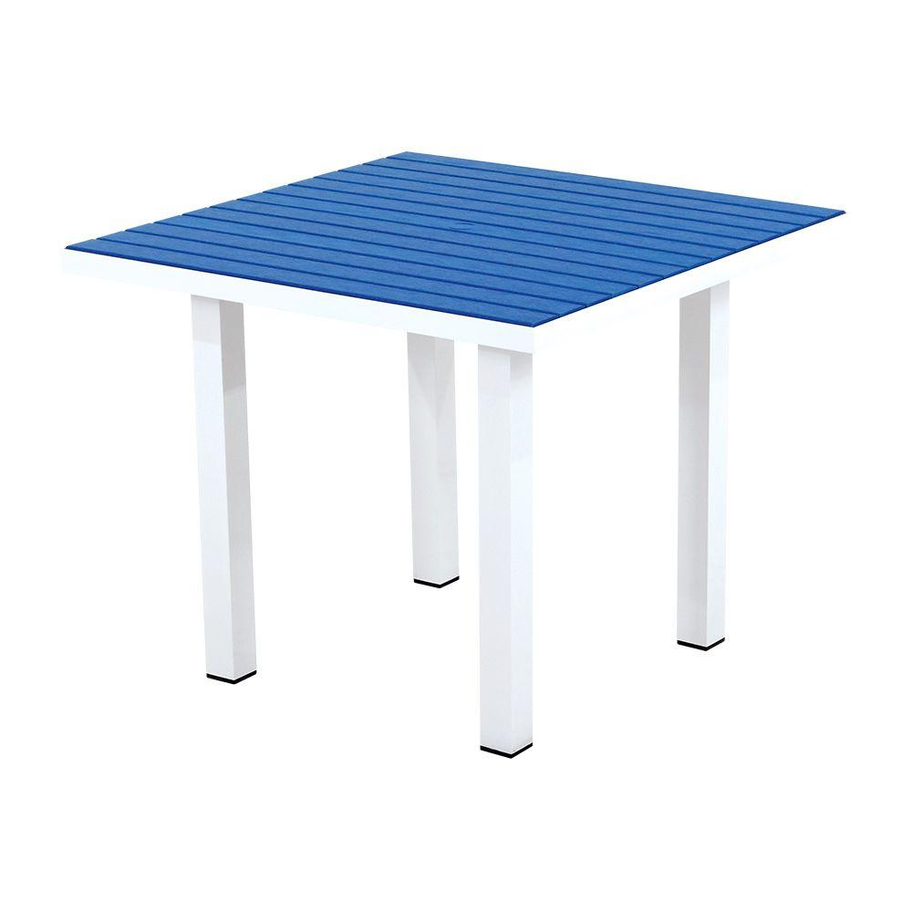 Euro Satin White/Pacific Blue 36 in. Square Patio Dining Table