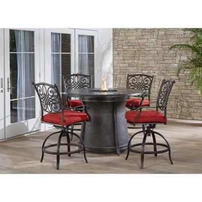 Traditions 5-Piece Aluminum Outdoor Dining Set with Red Cushions, 4-Swivel Chairs and Cast-top Fire Pit Table