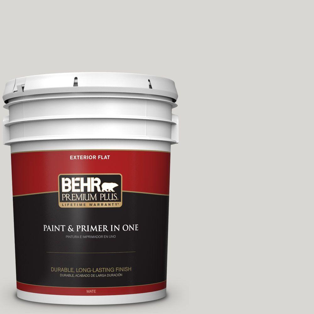 BEHR Premium Plus 5-gal. #ICC-23 Silver Tradition Flat Exterior Paint